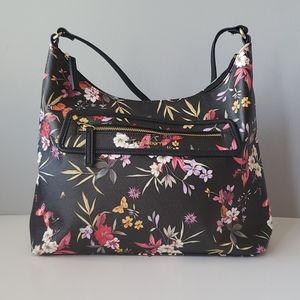 Liz Claiborne Black Red Floral and Butterfly Zip Top Shoulder Purse Bag